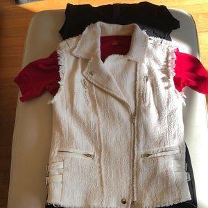 Rebecca Taylor S cream cotton Moto vest